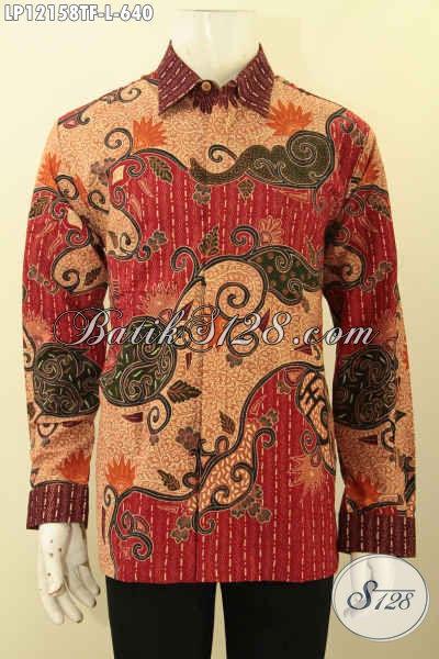 Busana Batik Formal Lengan Panjang Full Furing Motif Mewah Jenis Tulis Lasem, Kemeja Batik Premium Nan Istimewa Bikin Penampilan Gagah Berkelas [LP12158TF-L]