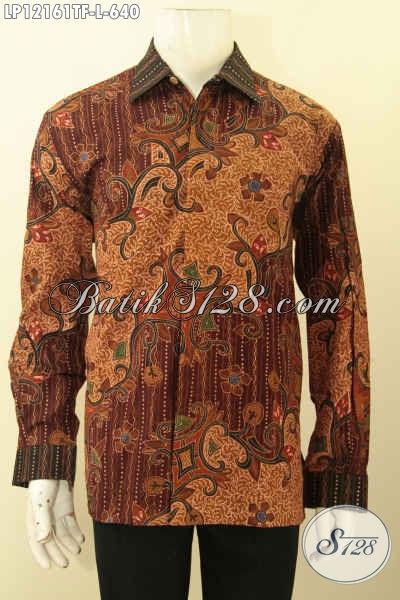Produk Pakaian Batik Mewa Khas Jawa Tengah, Busana Batik Premium Lengan Panjang Pakai Furing Untuk Acara Resmi, Kemeja Batik Halus Jenis Tulis Lasem Motif Terkini Tampil Gagah Berwibawa [LP12161TF-L]