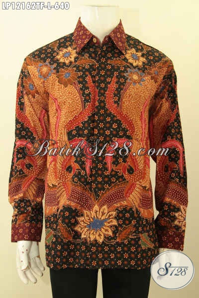 Baju Batik Pria Nan Exclusive Model Lengan Panjang Motif Elegan, Busana Batik Solo Premium Daleman Full Furing  Jenis Tulis Lasem, Cocok Untuk Pria Muda Maupun Dewasa [LP12162TF-L]