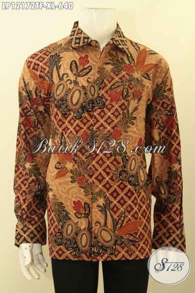 Baju Batik Istimewa Untuk Pria Tampil Gagah Mempesona, Kemeja Batik Tulis Lasem Mewah Lengan Panjang Full Furing, Pas Untuk Kondangan Maupun Acara Formal [LP12172TF-XL]