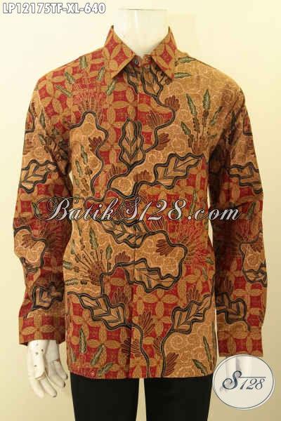 Jual Busana Batik Premium Spesial Buat Pria Kantoran, Baju Batik Lengan Panjang Mewah Jenis Tulis Lasem Pakai Furing Motif Tren Masa Kini, Bisa Untuk Kondangan Maupun Buat Kerja [LP12175TF-XL]
