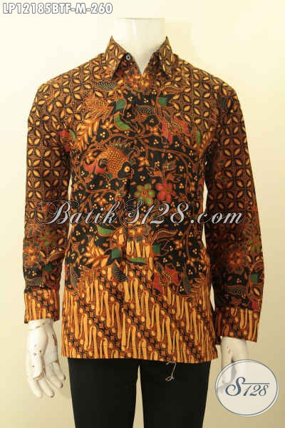 Baju Batik Pria Elegan Model Lengan Panjang Jenis Kombinasi Tulis, Busana Batik Solo Motif Bagus Daleman Full Furing, Pas Untuk Kondangan Hanya 260K [LP12185BTF-M]
