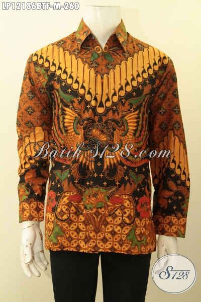 Jual Baju Batik Solo Elegan Lengan Panjang Motif Elegan Klasik, Pakaian Batik Istimewa Proses Kombinasi Tulis Bahan Halus Yang Nyaman Di Pakai [LP12186BTF-M]