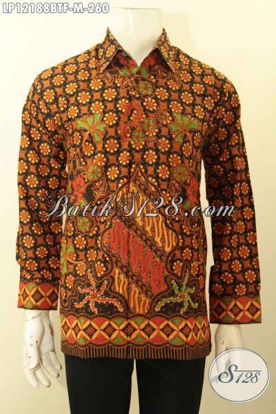Baju Batik Pria Muda Lengan Panjang Full Furing, Kemeja Batik Halus Motif Elegan Klasik Edisi Terbatas Cocok Untuk Kondangan Dan Acara Resmi [LP12188BTF-M]