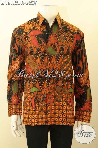 Produk Pakaian Batik Pria Terkini, Busana Batik Lengan Panjang Mewah Full Furing Motif Elegan Jenis Kombinasi Tulis Desain Mewah Pria Tampil Gagah Berkelas [LP12192BTF-L]