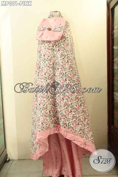 Mukena Modis Kwalitas Bagus Bahan Santung / Rayon Motif Uni Warna Pink Spesial Untuk Wanita Dewasa [MP001-Dewasa]