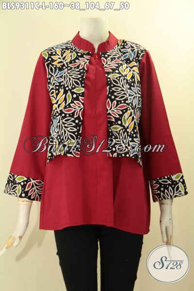 Atasan Batik Wanita Kekinian, Blouse Batik Solo Modis Kombinasi Kain Polos Toyobo Merah Kwalitas Istimewa, Baju Batik Cewek Lengan 7/8 Bikin Penampilan Cantik Dan Modis [BLS9311C-L]