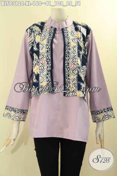 Baju Batik Perempuan Dewasa, Busana Batik Modern Tren Masa Kini Kombinasi Kain Polos Toyobo Model Cardigan Rompi Lengan 7/8, Bisa Untuk Kerja Maupun Acara Resmi [BLS9312C-XL]