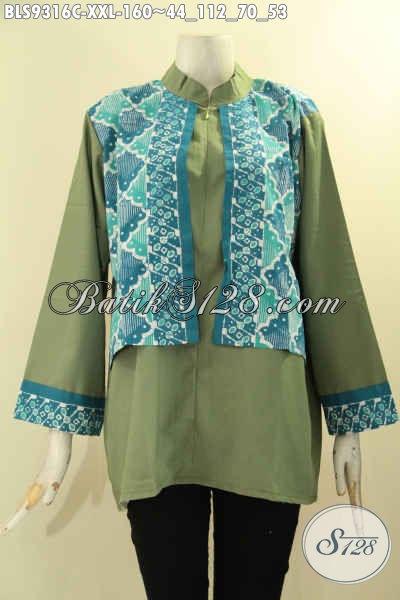 Jual Baju Atasan Wanita Gemuk Kekinian Blouse Batik Model Cardigan