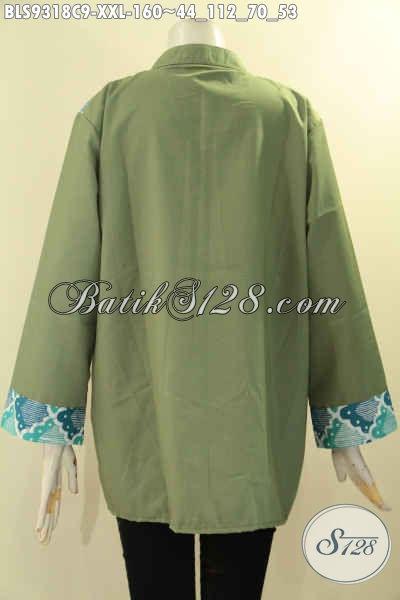 Produk Pakaian Batik Wanita Gemuk Tren Masa Kini, Busana Batik Model Cardigan Rompil Paduan Kain Polos Toyobo Lengan 7/8, Istimewa Untuk Kerja Maupun Jalan-Jalan [BLS9318C-XXL]