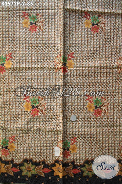 Sedia Kain Batik Motif Bunga Bahan Busana Wanita, Batik Kain Khas Solo Untuk Blouse Maupun Dress Kerja, Cocok Juga Untuk Busana Santai [K3572P-240x110cm]