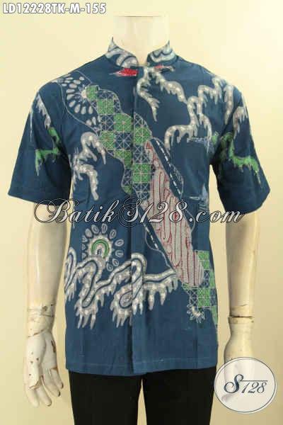 Busana Batik Keren Pria Model Kerah Koko Atau Shanghai, Pakaian Batik Fashion Buatan Solo Nan Istimewa Motif Kekinian Warna Bagus Proses Tulis, Bisa Untuk Kerja Maupun Ke Kondangan [LD12228TK-M]