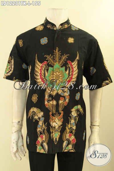 Kemeja Batik Elegan Warna Hitam Motif Bagus Jenis Tulis, Busana Batik Solo Aslil Model Kerah Hanghai Nan Berkelas, Pria Tampil Lebih Gagah Dan Trendy [LD12231TK-L]