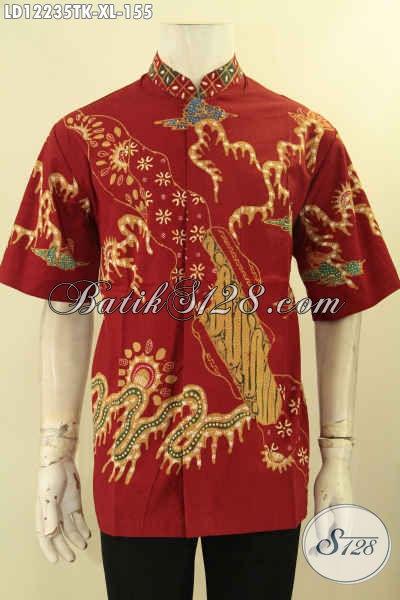 Produk Terkini Kemeja Batik Pria Lengan Pendek Kerah Shanghai Motif Bagus Warna Merah, Busana Batik Modis Jenis Tulis Harga Terjangkau [LD12235TK-XL]