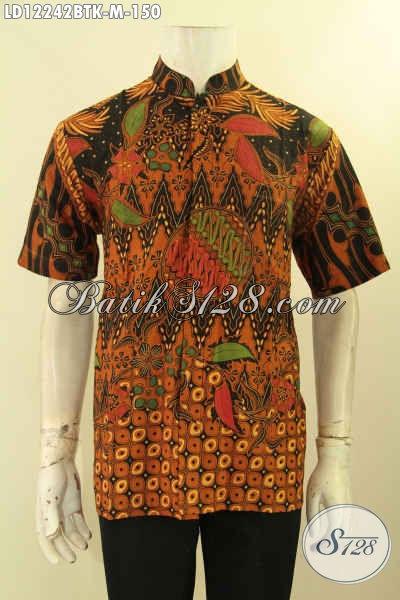 Produk Baju Batik Pria Motif Elegan Klasik Lengan Pendek Jenis Kombinasi Tulis, Pakaian Batik Solo Asli Untuk Acara Resmi Tampil Elegan [LD12242BTK-M]