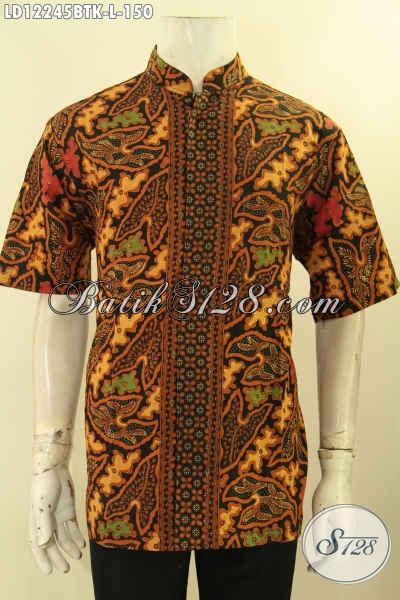Batik Kemeja Solo Halus Lengan Pendek Kwalitas Istimewa, Pakaian Batik Model Kerah Koko/Shanghai Motif Berkelas Kombinasi Tulis Harga Terjangkau [LD12245BTK-L]