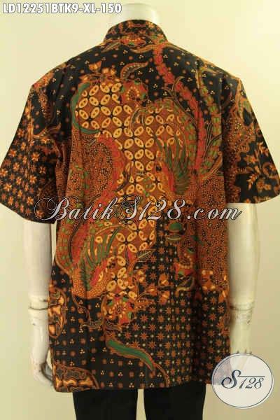 Kemeja Batik Pria Istimewa Harga Terjangkau Motif Elegan Proses Kombinasi Tulis, Pakaian Batik Modern Desain Kerah Koko Lengan Pendek Spesial Untuk Lelaki Dewasa [LD12251BTK-XL]