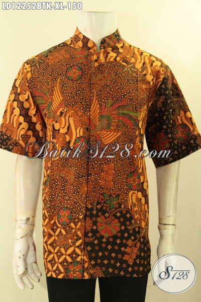 Kemeja Batik Kerja Kerah Shanghai, Baju Batik Koko Lengan Pendek Motif Elegan Klasik Kombinasi Tulis, Pilihan Tepat Untuk Tampil Berkelas [LD12252BTK-XL]