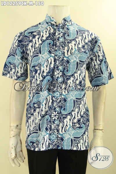 Baju Batik Solo Modern Model Kerah Koko Atau Shanghai, Busana Batik Kerja Maupun Acara Resmi Motif Elegan Proses Cap, Baju Batik Lengan Pendek Kawula Muda Tampil Tampan Mempesona [LD12259CK-M]
