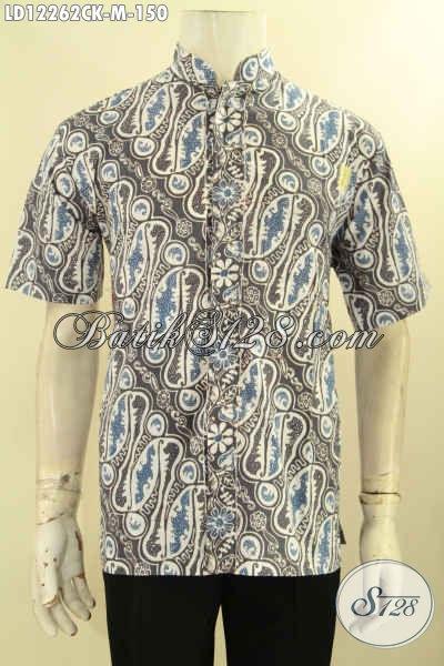 Koleksi Baju Batik Pria Lengan Pendek Motif Klasik, Busana Batik Solo Istimewa Proses Cap Model Kerah Shanghai, Pas Banget Untuk Ke Kondangan [LD12262CK-M]