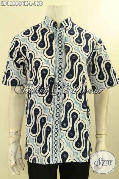 Jual Kemeja Batik Pria Lengan Pendek Istimewa, Busana Batik Cowok Masa Kini Motif Klasik Warna Modern Proses Cap Model Kerah Koko, Bikin Penampilan Lebih Berkelas [LD12263CK-L]