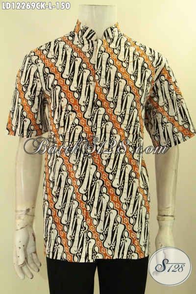 Kemeja Batik Koko Motif Parang, Busana Batik Istimewa Jenis Cap Desain Berkelas Lengan Pendek, Bikin Penampilan Lebih Gagah Dan Kekinian [LD12269CK-L]