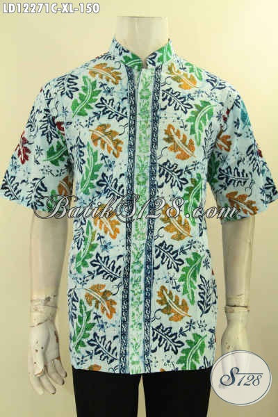 Hem Batik Motif Unik, Baju Batik Solo Lengan Pendek Kwalitas Istimewa Bahan Halus Jenis Cap, Pakaian Batik Cowok Bagus Model Koko Kerah Shanghai Hanya 150K [LD12271CK-XL]