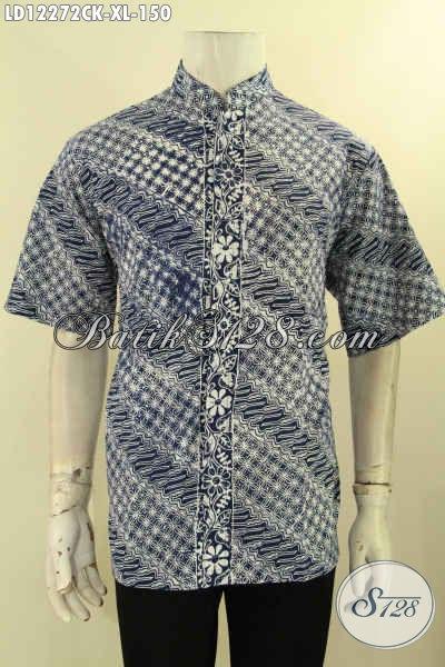 Koleksi Terbaru Kemeja Batik Pria Lengan Pendek, Pakaian Batik Halus Motif Elegan Desain Berkelas Kerah Shanghai, Penampilan Terlihat Lebih Sempurna [LD12272CK-XL]