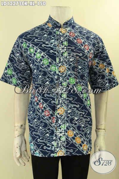 Kemeja Batik Pria Dewasa Model Kerah Koko, Busana Batik Motif Keren Warna Modern Jenis Cap, Pakaian Batik Cowok Lengan Pendek Untuk Acara Resmi Maupun Santain Tampil Beda [LD12273CK-XL]