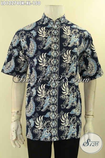 Baju Batik Pria Size XL Model Kerah Shanghai, Kemeja Batik Solo Lengan Pendek Nan Berkelas Bahan Halus Motif Terkini Proses Cap, Di Jual Online 150K [LD12274CK-XL]