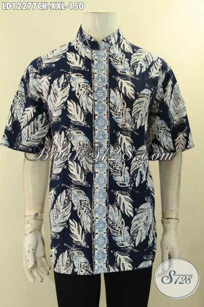 Busana Batik Solo Halus Model Lengan Pendek, Kemeja Batik Istimewa Model Koko Kerah Shanghai Spesial Untuk Lelaki Gemuk [LD12277CK-XXL]