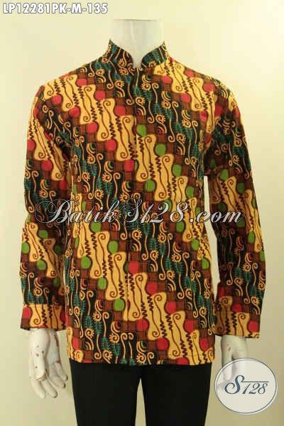 Kemeja Batik Motif Klasik Lengan Panjang Nan Istimewa, Hem Batik Solo Asli Model Kerah Koko Atau Shanghai Untuk Acara Formal Dan Kondangan [LP12281PK-M]