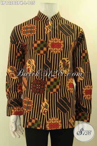 Kemeja Batik Pria Lengan Panjang Kerah Hanghai Motif Bagus Proses Print, Busana Batik Istimewa Untuk Acara Resmi Tampil Berkelas [LP12282PK-L]