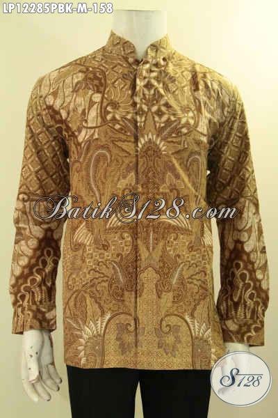 Busana Batik Pria Masa Kini, Kemeja Batik Solo Jawa Tengah Model Kerah Koko Motif Bagus Proses Printing Cabut, Menunjang Penampilan Lebih Sempurna [LP12285PBK-M]
