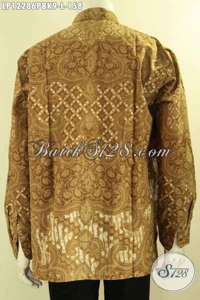 Sedia Kemeja Batik Solo Lengan Panjang Model Kerah Koko, Pakaian Batik Modern Motif Elegan Jenis Print Cabut, Pilihan Terbaik Untuk Tampil Gagah Berwibawa [LP12286PBK-L]