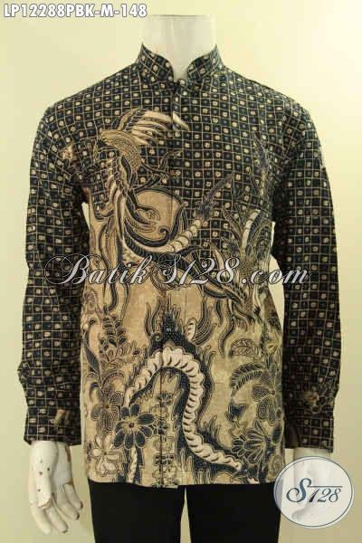 Jual Kemeja Batik Solo Lengan Panjang Istimewa,Produk Baju Batik Istimewa Terbaru Bahan Halus Motif Bagus Model Kerah Koko, Istimewa Buat Ke Pernikahan [LP12288PBK-M]