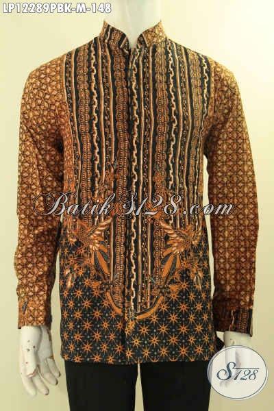 Baju Batik Pria Untuk Acara Resmi, Kemeja Batik Istimewa Desain Mewah Kerah Koko Atau Shanghai Lengan Panjang Motif Bagus Hanya 148K [LP12289PBK-M]