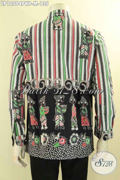 Kemeja Batik Pria Terbaru, Pakaian Batik Istimewa Untuk Acara Santai Maupun Resmi Model Kerah Shanghai Motif Kekinian Proses Print, Tampil Gagah Berkelas [LP12294PK-M]