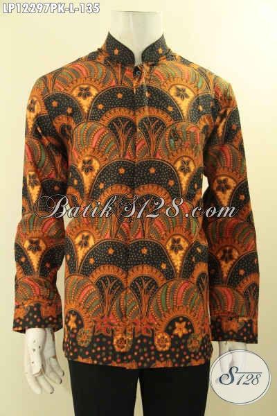 Jual Kemeja Batik Pria Online, Pakaian Batik Mewah Harga Murah Model Kerah Shanghai, Busana Batik Solo Asli Motif Elegan Jenis Print Hanya 100 Ribuan Saja [LP12297PK-L]