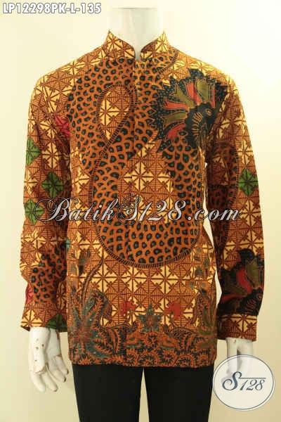 Sedia Kemeja Batik Formal Desain Kerah Koko/Shanghai, Busana Batik Elegan Kwalitas Bagus Bahan Halus, Tampil Tampan Menawan [LP12298PK-L]