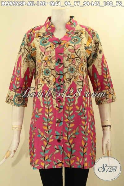 Baju Batik Wanita Buatan Solo Asli, Batik Blouse Istimewa Model Kerah Shanghai Berpadu Motif Trendy Dan Cewek Banget, Pakaian Batik Kekinian Lengan 3/4 Bikin Penampilan Cantik Menawan [BLS9323P-M]