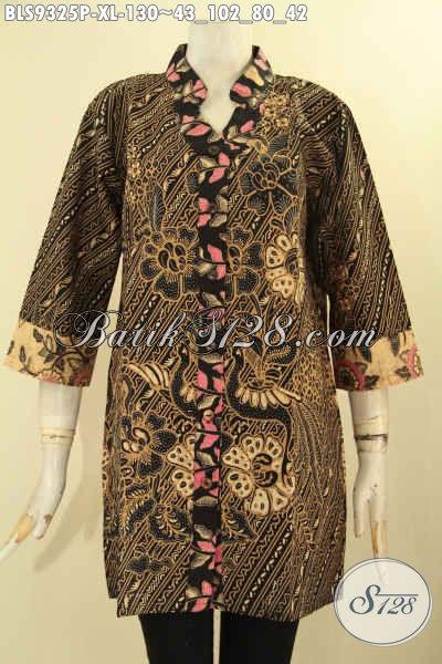 Blouse Batik Wanita Dewasa Motif Bagus Tren Masa Kini, Pakaian Batik Solo Lengan 3/4 Dengan Kerah Model Shanghai, Elegan Untuk Acara Santai Maupun Resmi [BLS9325P-XL]