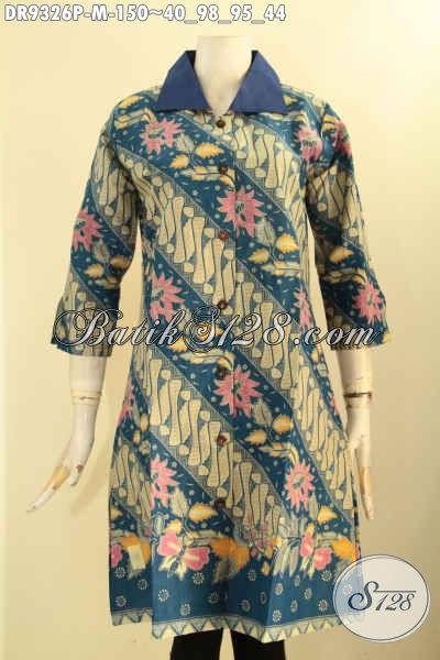 Batik Dress Motif Elegan Klasik Hadir Dengan Desain Kerah Polos Lengan 7/8 Pakai Kancing Depan, Pas Untuk Acara Formal Tampil Berkelas [DR9326P-M]