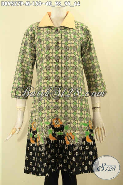 Model Busana Batik Dress Asli Solo, Pakaian Batik Elegan Dengan Kerah Polos Pakai Kancing Depan Dan Lengan 7/8, Tampil Anggun Menawan [DR9327P-M]