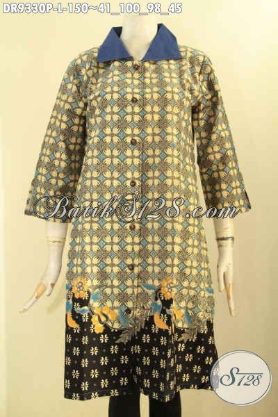 Koleksi Terbaru Dress Wanita Kerah Polos Lengan 7/8 Bahan Batik Motif Terkini Proses Printing, Pakaian Batik Model Kancing Depan Kwalitas Bagus Harga Terjangkau [DR9330P-L]
