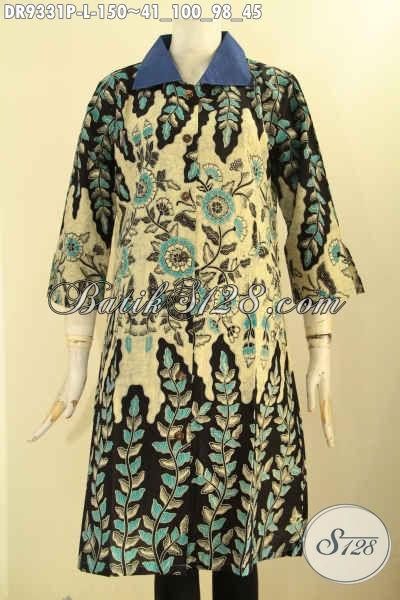 Dress Batik Wanita Kerah Polos Kancing Depan Lengan 7/8 Dengan Motif Kekinian Elegan Dan Berkelas, Wanita Tampil Cantik Menawan [DR9331P-L]