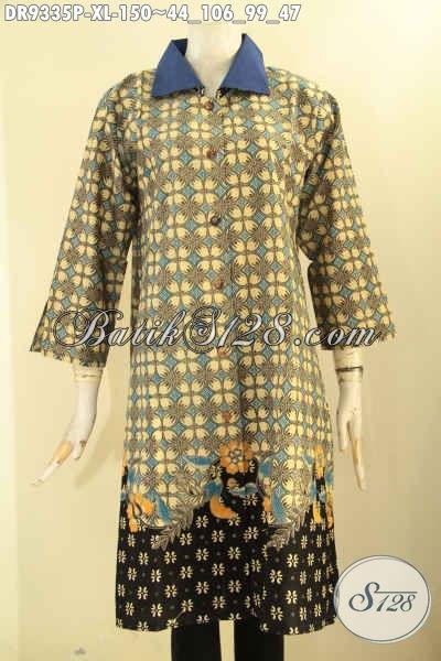 Olshop Busana Batik Terlengkap Dan Up To Date, Sedia Dress Batik Model Kerah Polos Lengan 7/8 Di Lengkapi Kancing Depan Pas Untuk Ngantor [DR9335P-XL]