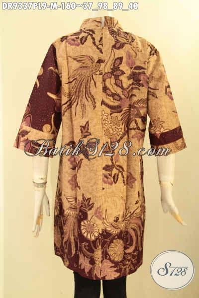Batik Dress Solo Istimewa Kombinasi 2 Motif, Busana Batik Model Kerah Shanghai Dengan Resleting Belakang Lengan 3/4 Nan Berkelas [DR9337PL-M]