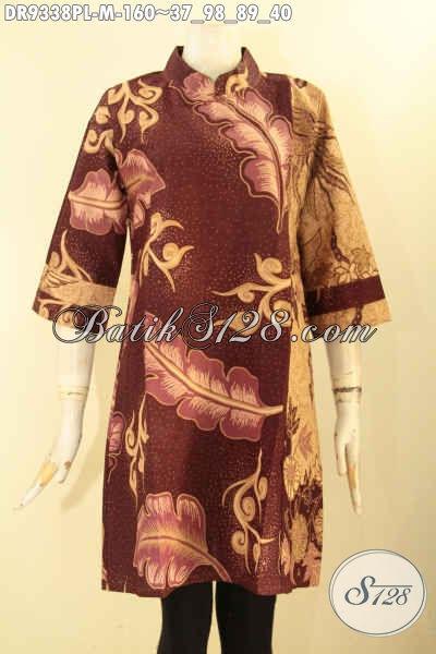 Dress Batik Wanita 2 Motif, Pakaian Batik Elegan Model Kerah Shanghai Lengan 3/4 Bahan Halus Di Lengkapi Resleting Belakang Motif Tren Masa Kini [DR9338PL-M]