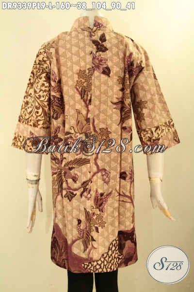 Baju Batik Dress Wanita Dual Motif, Pakaian Batik Solo Kekinian Kwalitas Istimewa Bahan Halus Motif Terbaru Jenis Print, Bisa Buat Ngantor Maupun Acara Resmi [DR9339PL-L]